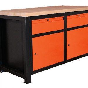 Stół warsztatowy z dwiema zamykanymi szufladami