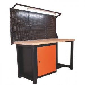 Stół warsztatowy z nadstawką i lampą elektryczną