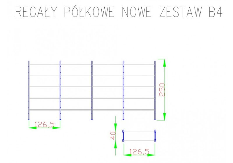 Regał półkowy systemowy 20 półek pomorskie