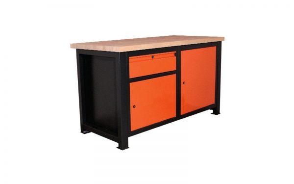 Stół ślusarski z zamykaną szufladą oraz szafkami P-1415