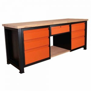 Stół warsztatowy z szufladami blat z litego drewna P-2113
