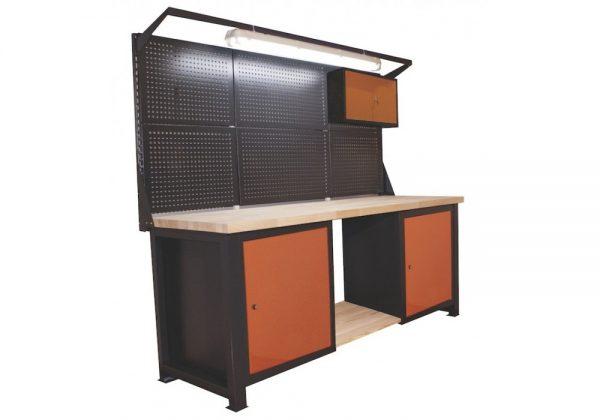 Stół warsztatowy z nadstawką lampą szafką