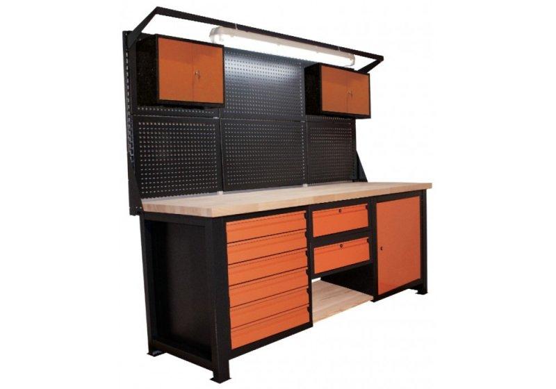 Stół warsztatowy z nadstawką, lampą oraz szufladami