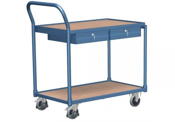 Wózek platformowy z dwoma stałymi półkami