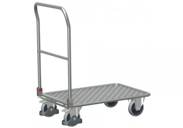 Wózek platformowy aluminiowy ze składanym uchwytem
