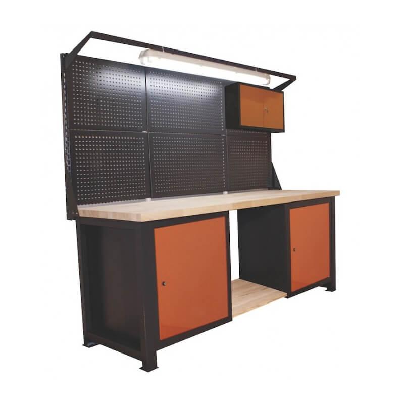 Stół warsztatowy z nadstawką lampą szafką p2119